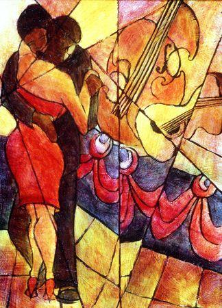 African American couple dances to jazz band. Фото со стока