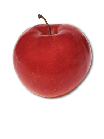eating questions: Red apple on white background