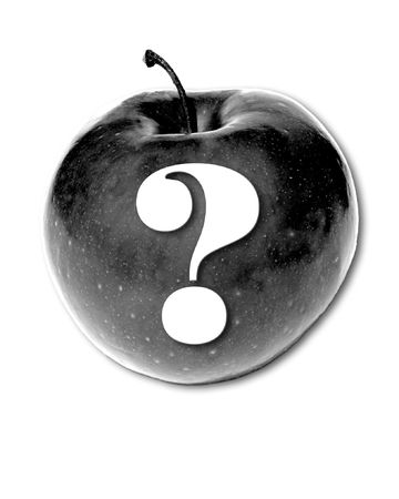 eating questions: Grayscale  Apple with a question mark.