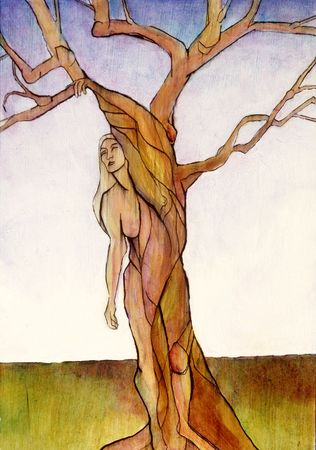 transforms: A painting of Laurel from Greek Mythology who became a tree in order to avoid marrying the god Appollo.