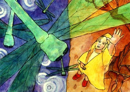 Girl in a yellow raincoat reaching for a dragonfly.