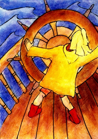 A young girl turns a large captains wheel on the bow of a ship. Imagens