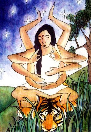 Indian goddess Durga with 8 arms sits atop a tiger. Stock Photo - 390240