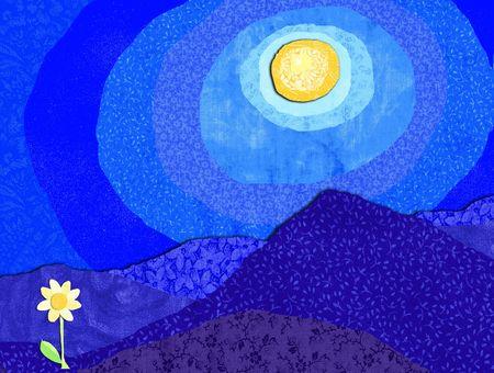 nightime: Fiore d'oro con la luce della luna
