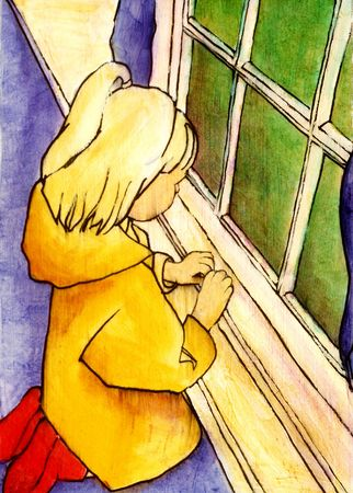 GIrl in a yellow raincoat looks out the window. Stock fotó
