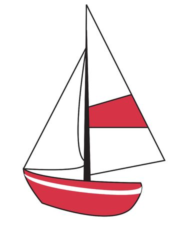 Red sailboat with white sails and detailing