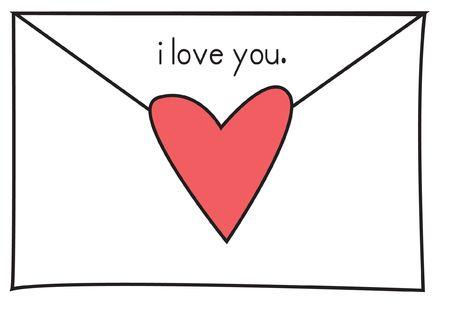 """recibo: Nota de amor en un sobre blanco cerrado, con un coraz�n rojo y las palabras """"te amo"""". Foto de archivo"""