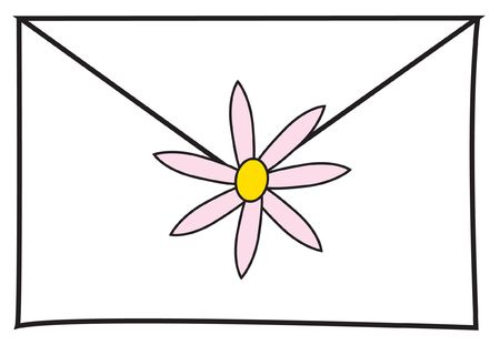 envelope sealed with a daisy. Stock Photo