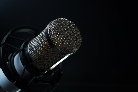 Professional condenser studio microphone on the black background.