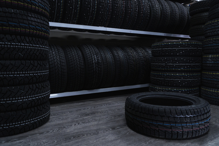 A large number of car tires. Car tire store.