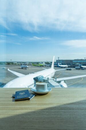 Cup of tea in airports business lounge. Waiting for the flight