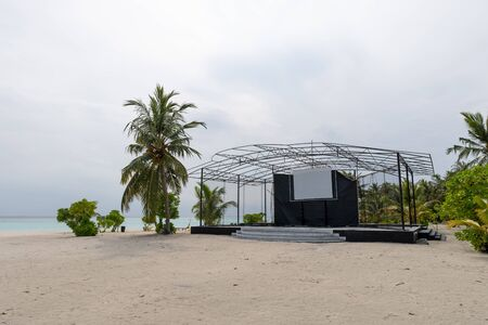 Empty stage is beach waiting for concert