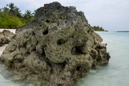 Stone on the shore of a tropical island