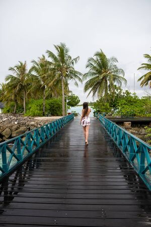 A young girl in a dress walking on a wooden bridge. The island is cloudy Standard-Bild