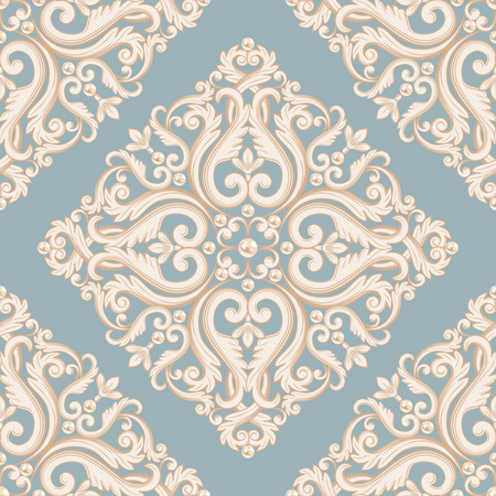 baroque pearl: Seamless damask pattern. Blue and beige pastel texture with pearls. Vector illustration.