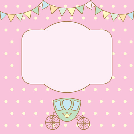 pastel colour: Pastel colour retro polka dot background with frame for text or photo, multicolored buntings garlands and carriage. Vector illustration.