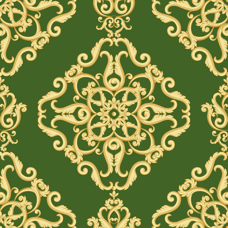 antique wallpaper: Seamless damask pattern. Golden and white texture in vintage rich royal style. illustration.