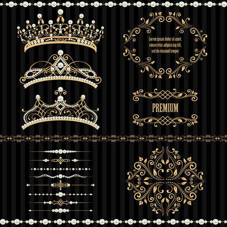 corona real: Elementos reales del diseño, vintage marcos, bordes, divisores, perlas y diademas de oro en color beige. ilustración. Aislado en el fondo negro a rayas. Puede utilizar para la tarjeta de cumpleaños, invitación de la boda