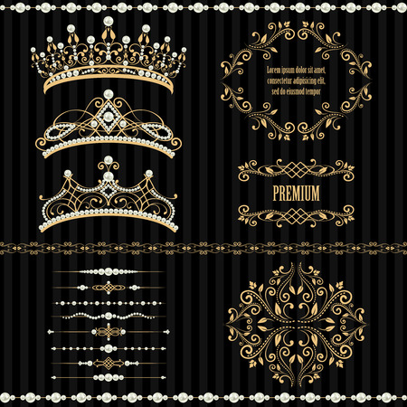 Royal design elements, vintage frames, dividers, borders, pearls and diadems in golden beige. illustration. Isolated on striped black background. Can use for birthday card, wedding invitation Çizim