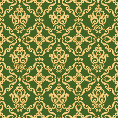 Seamless damask pattern. Golden and green texture in vintage rich royal style. Vector illustration.