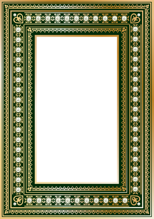 blanked: Luxury vintage ornate frame for your text or photo. Royal gold with pearls on dark green. Vector illustration Illustration