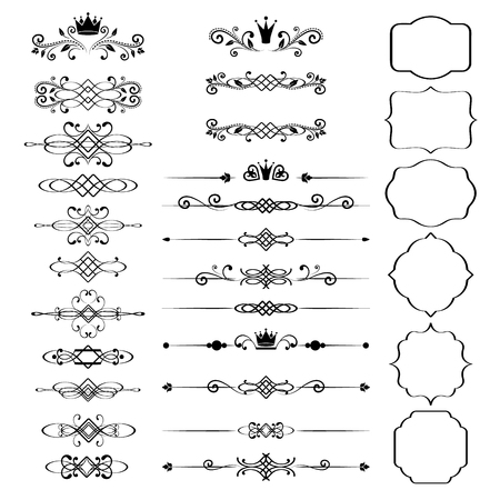 floral decoration: Floral design elements set, ornamental vintage frames with crowns in black color. Page decoration. Vector illustration. Isolated on white background. Can use for birthday card, wedding invitations.