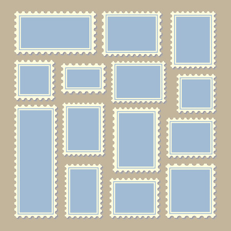 postoffice: empty blank postage stamps different size in blue and white color isolated on beige background with shadows. vector illustration