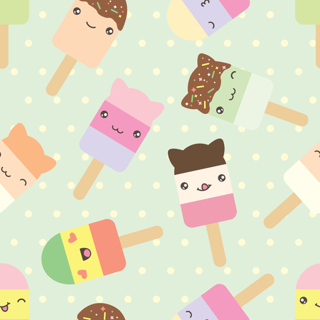 japanese dessert: Seamless pattern of cute kawaii style ice cream bars . Decorative bright colorful design elements in doodle Japanese style isolated on retro polka dot background. Vector illustration.