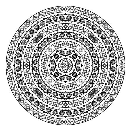 単色の民族のシームレス テクスチャ。ラウンドの観賞用ベクター図形が白で隔離。オリエンタル アラベスク パターン背景。黒と白の色のベクトル