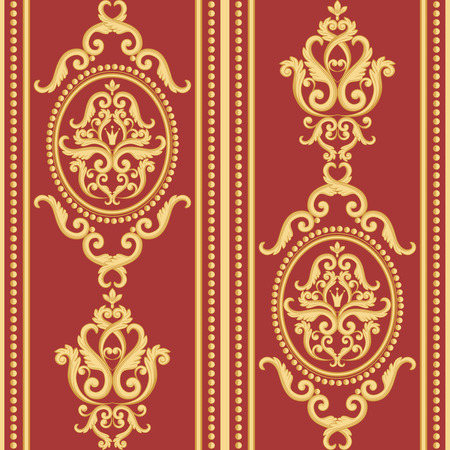 rich wallpaper: Seamless damask pattern. Gold and red texture in vintage rich royal style. Vector illustration. Can use as background for birthday card, wedding invitations, textile print, wallpaper, wrapping paper