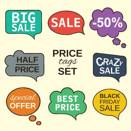 Veelkleurige labels. Verkoop promotie tekstballonnen collectie set met prijskaartjes geïsoleerd op beige. Vector illustratie De tekst kan gemakkelijk worden verwijderd. Volledig aanpasbaar en klantgericht.
