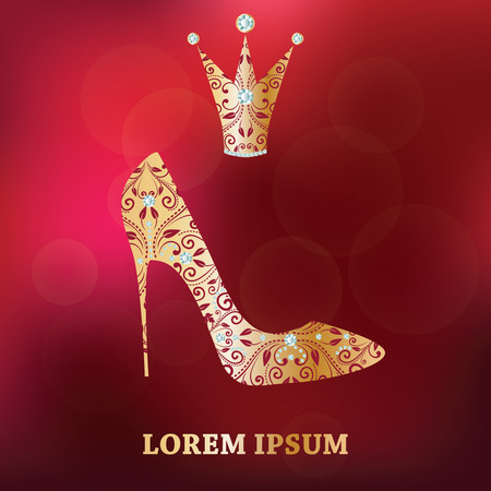 fetish wear: glamour design elements . Golden shoe, crown with abstract floral decor. Isolated on luxury abstract red blurred background. Template for little princess, glamour girl and woman. Vector illustration.