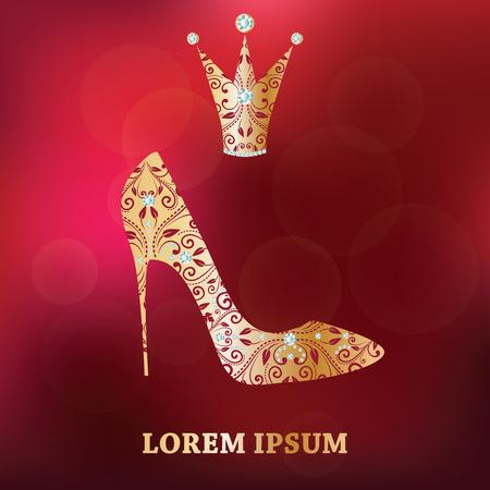 Glamour Design-Elemente. Goldener Schuh, Krone mit abstrakten Blumendekor. Isoliert auf Luxus abstrakten roten unscharfen Hintergrund. Vorlage für kleine Prinzessin, Glamour-Girl und Frau. Vektor-Illustration.
