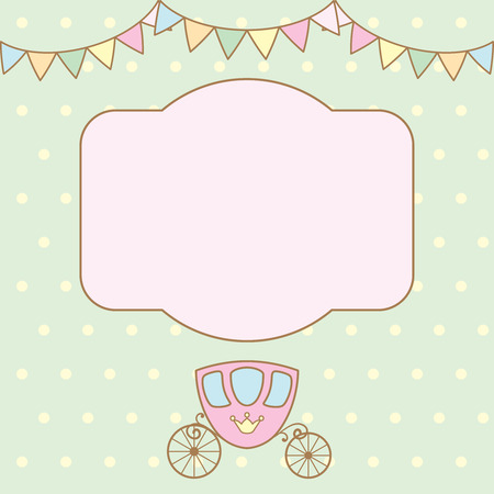 pastel colour: Pastel colour retro polka dot background with frame for text or photo, multicolored buntings garlands and carriage.