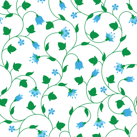tiny: Seamless floral pattern with tiny blue flowers isolated on white.
