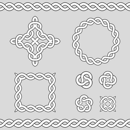 circular chain: Set collection of celtic ornamental design elements. Illustration