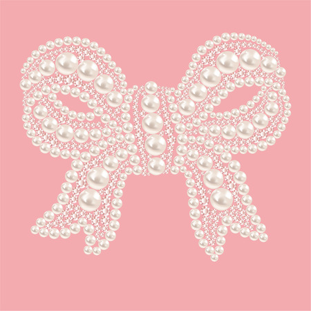 diamonds isolated: Cute bow with pearls and diamonds. Isolated on a pink background.