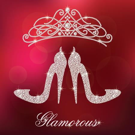 Elementy projektu Glamour. Eleganckie damskie buty na obcasie, wykonane z błyszczących diamentów. I diadem kryształów. Odizolowywający na czerwonym zamazanym tle. Ilustracje wektorowe