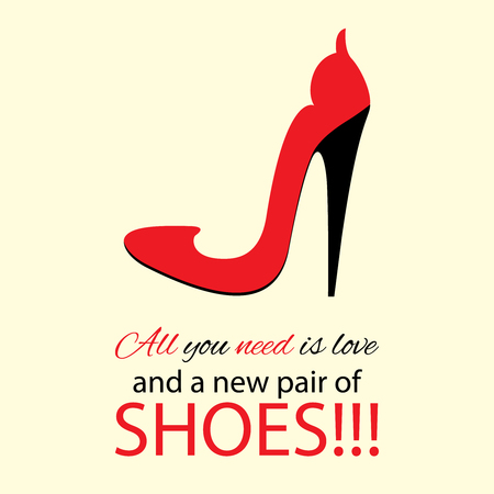 red shoes: Fashion poster design. Womens high heel red shoes with text.
