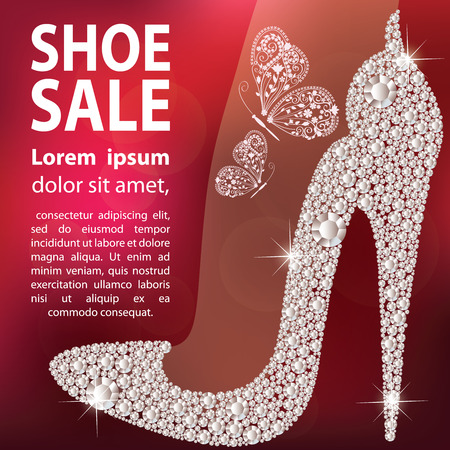 Shoe sale design. Elegant ladies high heels shoe shape, made with shiny diamonds. Isolated on dark red blurred background. Ilustração