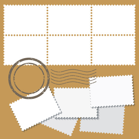 Blank postage marks in white color with stamps isolated on beige background.
