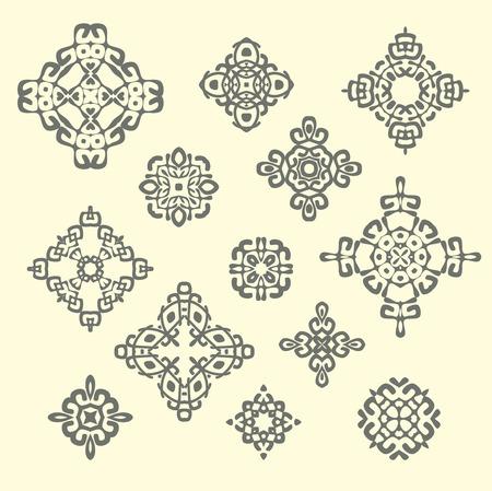 etnia: Conjunto de diversos signos étnicos y elementos de diseño. patrones geométricos sobre fondo beige. Vectores
