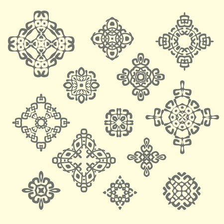ethnicity: Set of different ethnic signs and design elements. Geometric patterns on beige background. Illustration