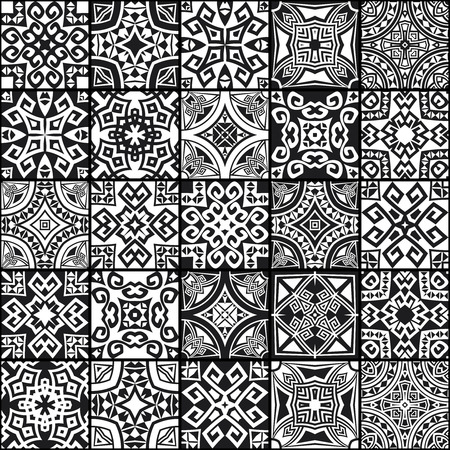 set symbols: 25 different abstract geometric ethnic seamless textures in one mega pack set collections. Can be used for wallpaper, pattern fills, web page background.