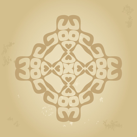 peruvian ethnicity: Abstract ethnic sign in sepia brown colors isolated on grunge old background.