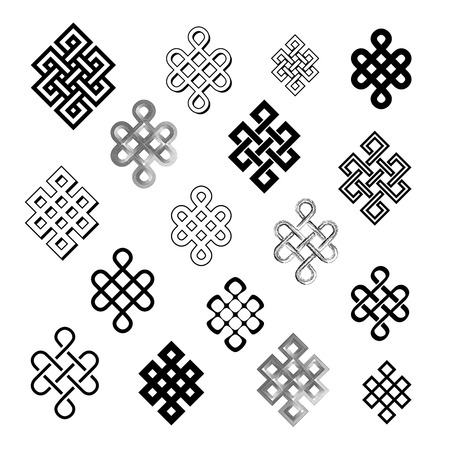 buddhist: Set collection of the endless knot or eternal knot. Black sign in different variations isolated on white background.