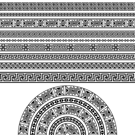 decoration elements: Ethnic geometric design set. sign, border decoration elements in black color isolated on white background. Could be used as divider, frame, etc