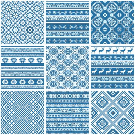 9 9 青と白装飾民族シームレス パターンのコレクションを設定します。  イラスト・ベクター素材