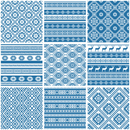 set collections of nine 9 blue and white ornamental ethnic seamless patterns Stock Vector - 57525523