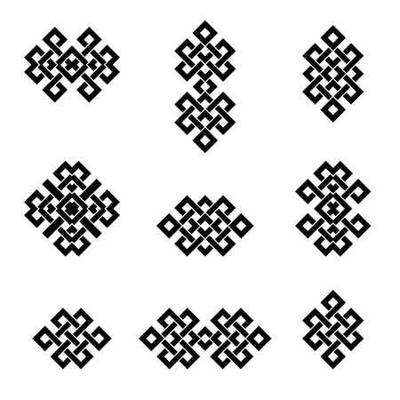 nirvana: Set collection of the endless knot or eternal knot designs. Black sign in different variatons isolated on white background.